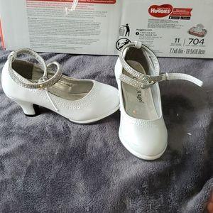 White heels with rhinestone strap